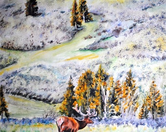 Elk watercolor, original watercolor painting, elk wall art, elk painting, wildlife watercolor, wildlife art ,wildlife painting, elk