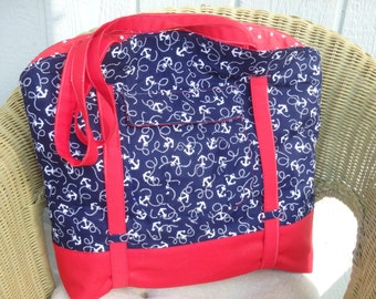 Jumbo Beach Bag, Anchor Bag, Red White & Blue Tote, Nautical Bag, Jumbo Tote, Boating Bag, Day Bag, Gifts for Her, Beach Gifts