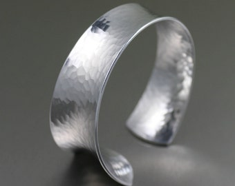 Hammered Anticlastic Aluminum Bangle Bracelet   - Silver Bracelets - Aluminum Jewelry for Women - 10th Anniversary Gifts