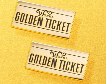 Golden Ticket Hard Enamel Pin from Charlie and the Chocolate Factory, Willy Wonka