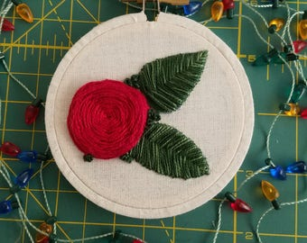 Hand Embroidered Rose Christmas Tree Ornament