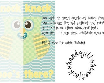 door sign for baby shower, owl theme, mad lib game freebie with purchase