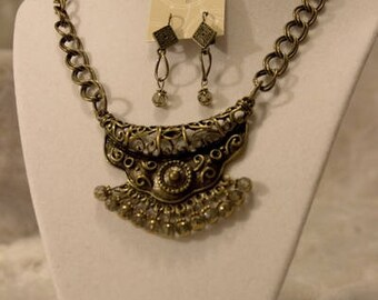 Brass Egyptian Necklace and Earring Set