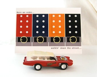 The Monkees Shirts Group - Blank 4x5.5 Note Card, Single or Set of 4 - Red, Navy, Orange, Black, Grey - 1960s, TV, Music