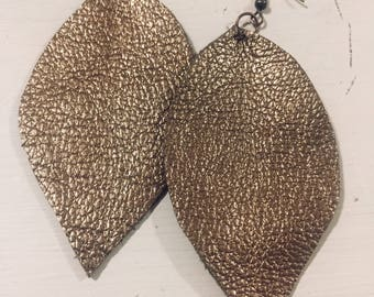 Bronze Leather Leaf Earrings