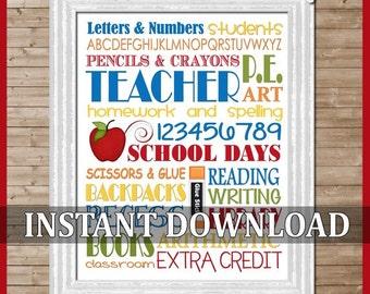 Teacher School Days Subway Art -  Printable INSTANT Download