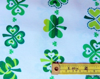 "One Yard Cut Quilt Fabric, ""Saint Patty's Day"" by Greta Lynn for Kanvas, Shamrocks in Rows on White, Sewing-Quilting-Craft Supplies"