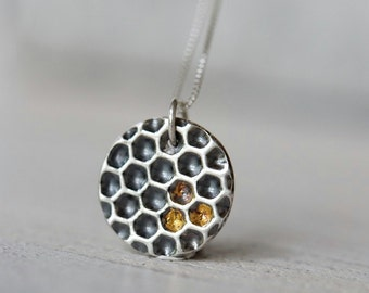 Honeycomb necklace solid silver with gold honey details, sterling silver box chain included, honeycomb jewelry