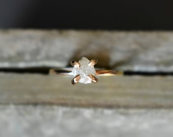Uncut Diamond Ring, Raw Rough Large Diamond and 14K Gold Fill Ring, Modern Pronged Engagement Ring, All Skin Colors, Unique Proposal Ring