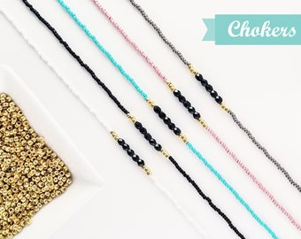 Beaded Black & Gold CHOKER, minimalist beaded choker, boho jewelry, chokers for women, dainty necklace, blush pink, turquoise, white, gray