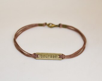 Valentines gift, Courage bracelet for men, men's bracelet with a bronze plaque, brown cord, inspiration jewelry, motivation, gift exchange