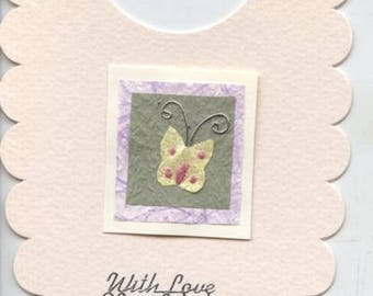 Baby bib shaped card with butterfly design