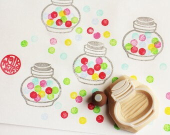 bubble gum jar rubber stamp set   candy glass container stamps   diy birthday christmas card making   hand carved by talktothesun   set of 2