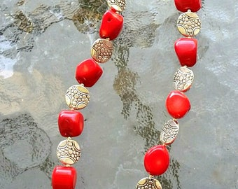 Coral Necklace. Red Necklace. Natural Necklace. Natural Jewelry. Chunky Coral Necklace