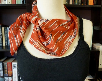 Stylish retro NECK SCARF scarflette neck tie. Red w Blue Stripes. Multiple ways to wear. Perfect gift. Spring. Rockabilly