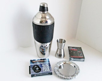 Vintage  Cocktail Shaker w Hockey Puck Coasters, Poker Playing Cards and Tag Jigger Bar Tools Stainless Steel Barware gift set Entertaining