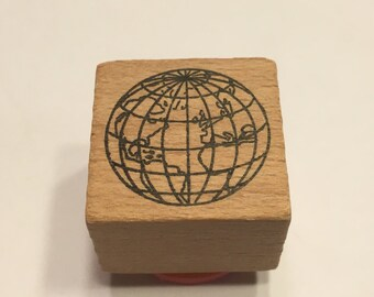 small Globe rubber stamp, 22 mm (BB4/1)