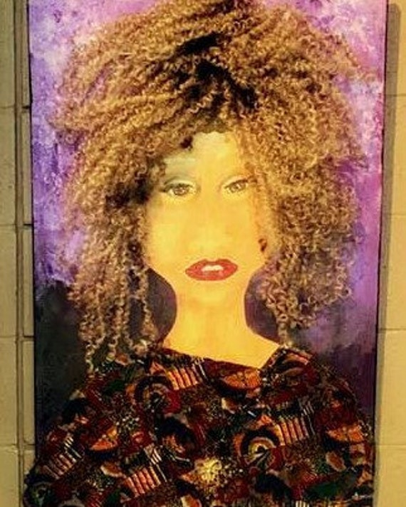 """Not Then Not Now Not Ever! Mix Media Painting on 36 x 24"""" canvas, African American Art, by Outsider Folk Artist Stacey Torres, portrait"""