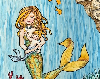 Golden Mermaid Mother and Child - 8 x 10 Art Print - Watercolor Painting
