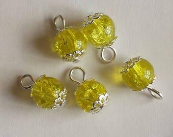 5 pendants 8mm yellow Crackle glass beads