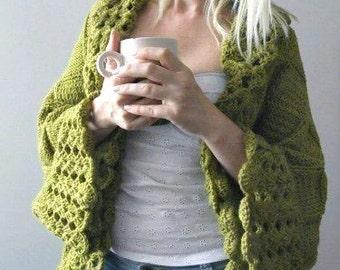 Big Olive Green Cardigan- Plus Size Cardigan- Small-Medium-Large-Xlarge-2X-3X Blanket Cardigan Custom Made Cardigan Plus Size Sweater