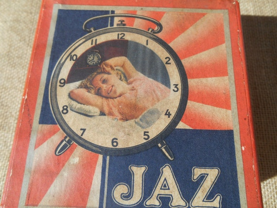 Paper Box 1930's JAZ Clock Modic Silencieux French Collectible Box Sleeping Lady Photo Red Blue & White Print #sophieladydeparis