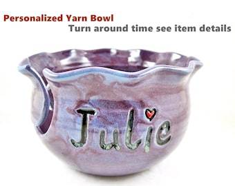 Personalized yarn bowl for knitting, Teal blue personalized knitting bowl