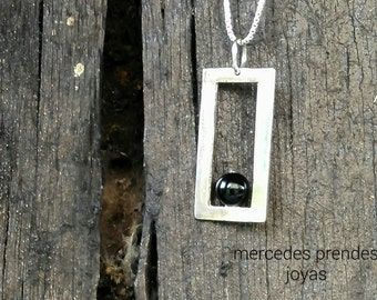 Strength and peace, silver and onyx, pendant: Strength and peacefulness