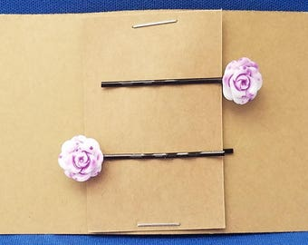 PURPLE FLOWER Bobby PIn Hair Clip Accessory - Set of 2 Handmade