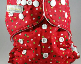 Red, White and Green Dot Pocket, AIO or Fitted Diaper