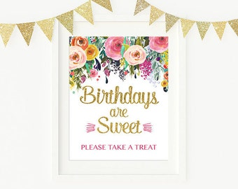 Floral Birthdays are Sweet Sign, Pink and Navy Birthday Sign Favor Sign Printable, Digital Printable PDF 891