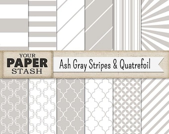 Ash Gray Striped Digital Paper, Light Ice Gray Stripe Quatrefoil Digital Scrapbook Paper Backgrounds for Weddings Anniversary Father's Day