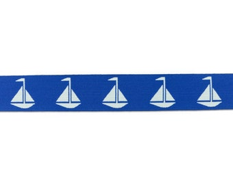 1 m Rubber Band sailing ships-40 mm wide-royal blue-White