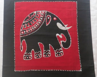 red batik cushion cover with elephant design