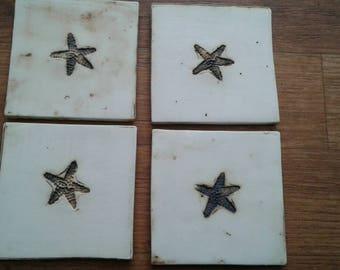 Handmade starfish coasters