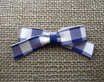 School Girl Purple/White Plaid Leather Bow Clip Adorable Photo Prop for Newborn Baby Little Girl Child Adult Easter Summer Buffalo Check Bow