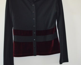 Get 15% discount with coupon code NEW15 blouse Vintage MISS H Boho black with Crimson velvet lines 36