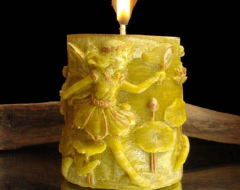 Little green fairy candle 3D oval bronze