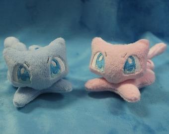 "6"" Mew and Shiny Mew Plushie Pokemon inspired Minky Handmade Plush"