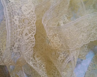 Gorgeous Delicate Antique Lace Trim Lemon Cream Pastel Yellow