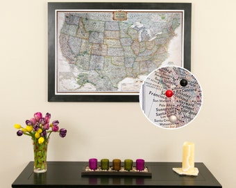 Personalized Executive US Travel Map with Pins and Frame  -Push Pin Travel Map - Detailed US Map - Large Framed Map - US Bucket List Travels