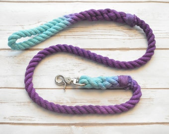 MERMAID: Rope Dog Leash Aqua and Purple Rope Dog Leash