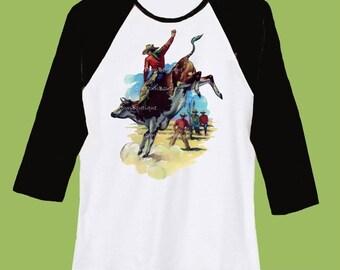 Bull Rider Raglan Shirt, Baseball Shirt, western t-shirt, Rodeo shirt, Black Sleeve Cowboy shirt, Vintage western,ChiTownBoutique