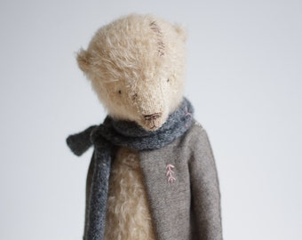 Made To Order Mohair Teddy Bear Knitted Scarf Embroidered Jacket 12 Inches Stuffed Animal Artist Teddy Bear Soft Toys Personalized Gift