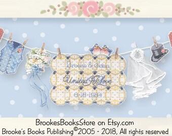 Brooke's Books Just Married Sunshine Line Wedding Sampler - INSTANT DOWNLOAD Cross Stitch Chart Only