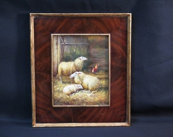 LF44758E: Burl Walnut Framed Oil Painting on Board of Sheep