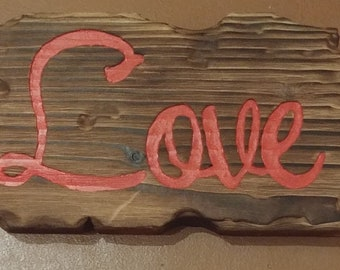 TIki or Distressed Style Wood Love Sign