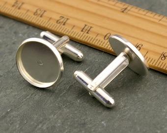 10 Silver plated Brass 16mm glass cufflink blanks Base  cufflink bezel settings gm164s-16(10pcs)