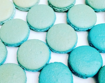36 Blue Ombré French Macarons