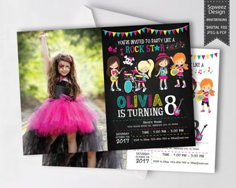 Rock Star Invitations, Rockstar Party, Pop Star Invitation, Rock Star Birthday Party,  Girl Birthday invitations photo - JPEG & PDF File
